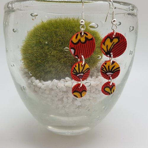 Boucles d'oreillesluna  fabric floral rouge