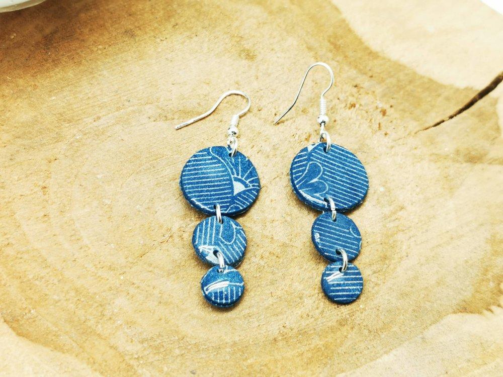Boucles d'oreilles LUNA  bleues