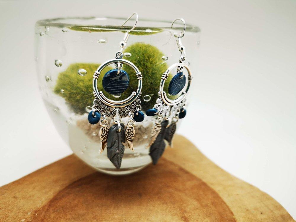 Boucles d'oreilles  APACHE en FIMO blanc et turquoise