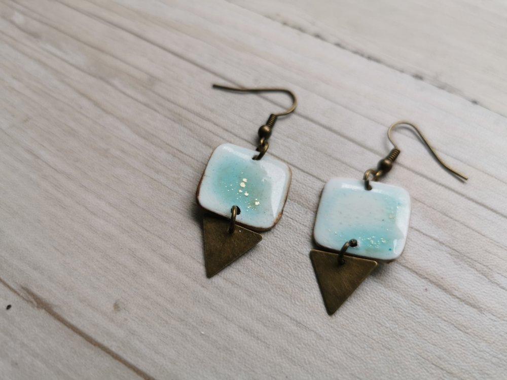 Boucles d'oreilles CARRETRI bronze turquoise transparent
