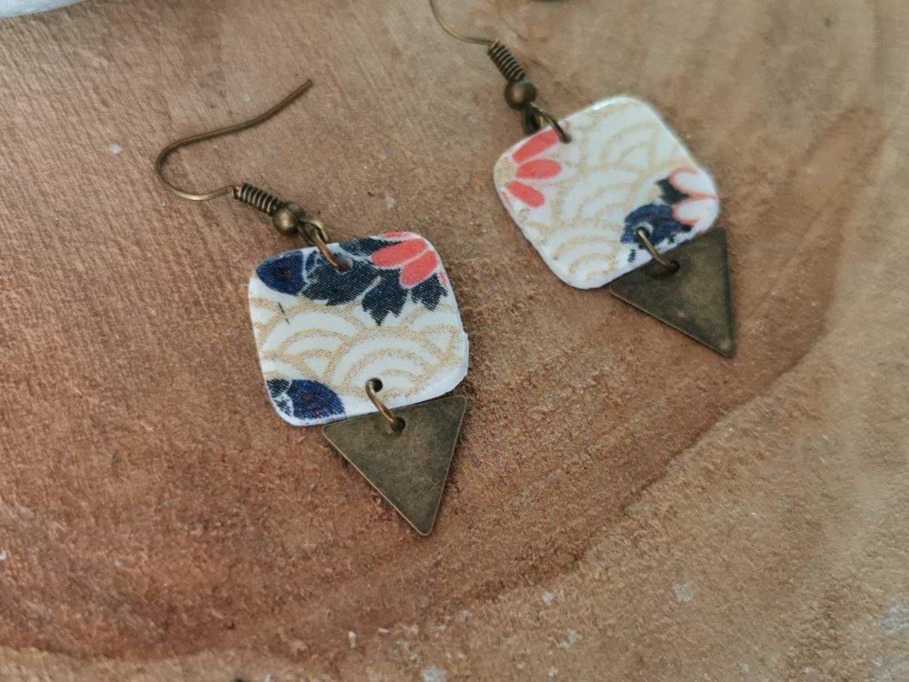 Boucles d'oreilles CARRETRI bronze motif japonisant