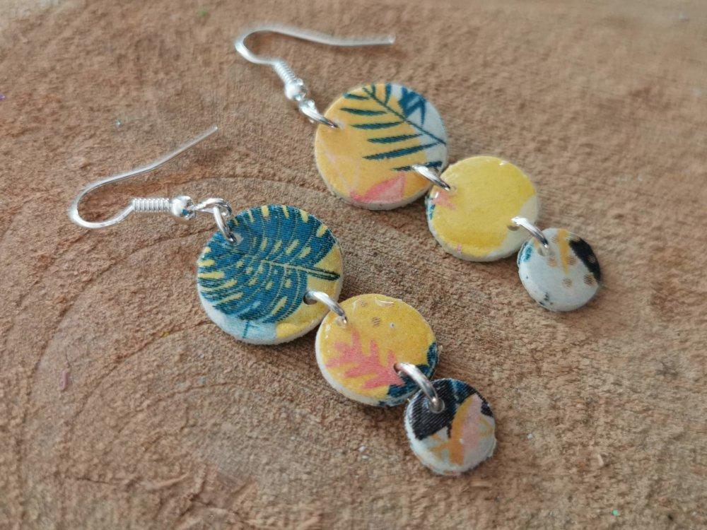 Boucles d'oreilles LOUNA motif tropical jaune