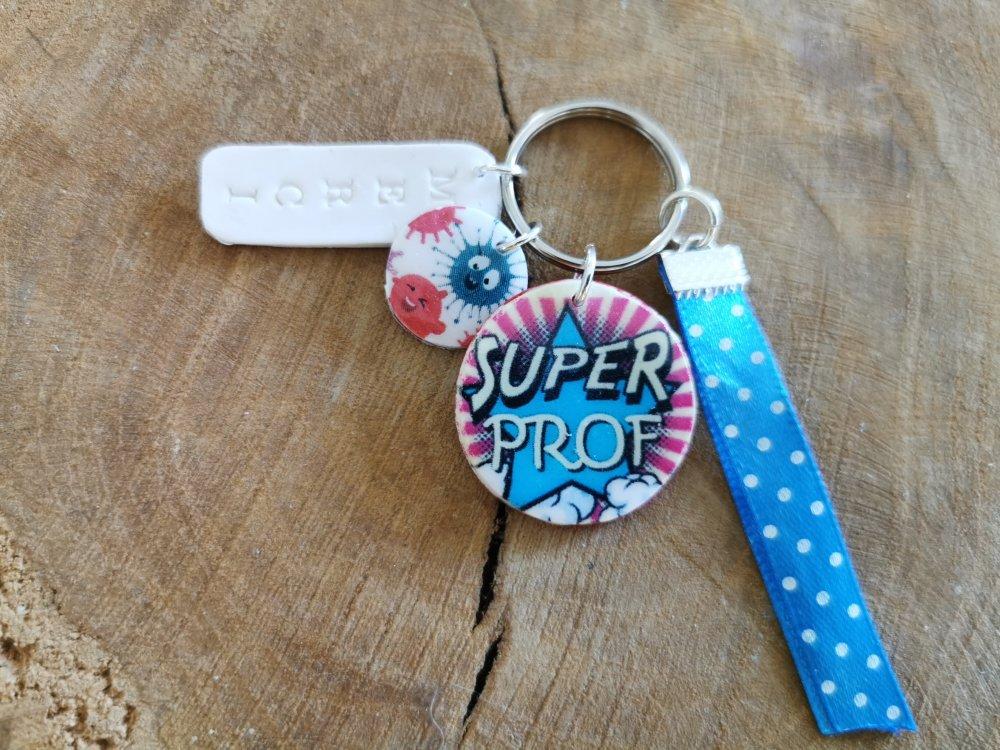 "Porte clef bijou de sac ""SUPER PROF merci""  cadeau prof"