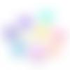 200 perles fleur 12mm x 7mm multicolores en acrylique tons pastels