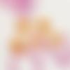 20 perles feuille 13mm x 10mm en verre orange et fuchsia