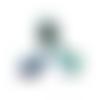 25 x perle goutte 9mm x 6mm en verre multicolore tons bleu et vert