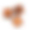 50 x perle polygone 12mm x 11mm en bois couleur marron