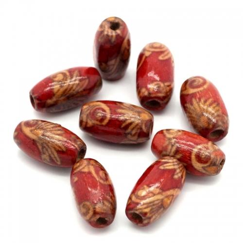 20 x perle ovale 15mm x 9mm en bois à motifs rouge