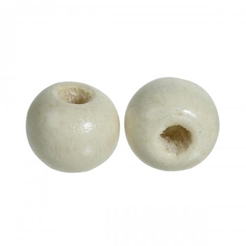 500 x perle ronde 7mm 8mm en bois couleur blanc