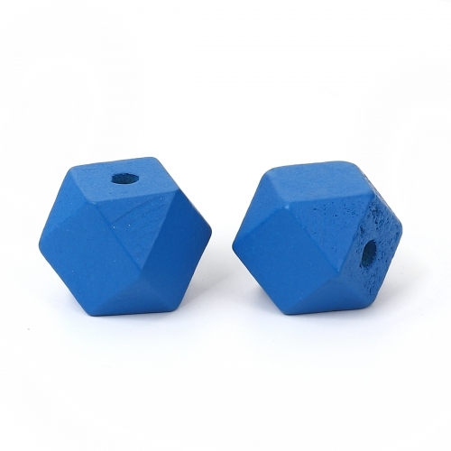 30 x perle polygone 20mm en bois couleur bleu