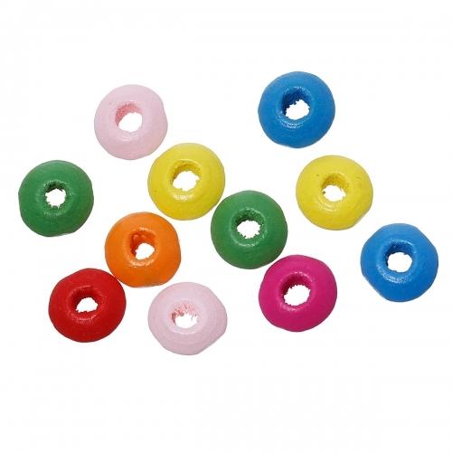 1000 x perle rondelle 8mm x 4mm multicolores en bois