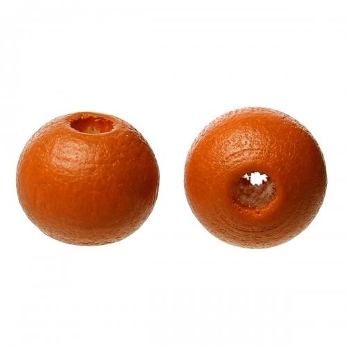 500 x perle ronde 8mm en bois couleur rouge orangé