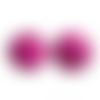 200 x perle ronde 10mm en bois couleur rose fuchsia