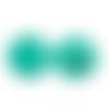 20 x perle ronde 25mm en bois couleur bleu vert
