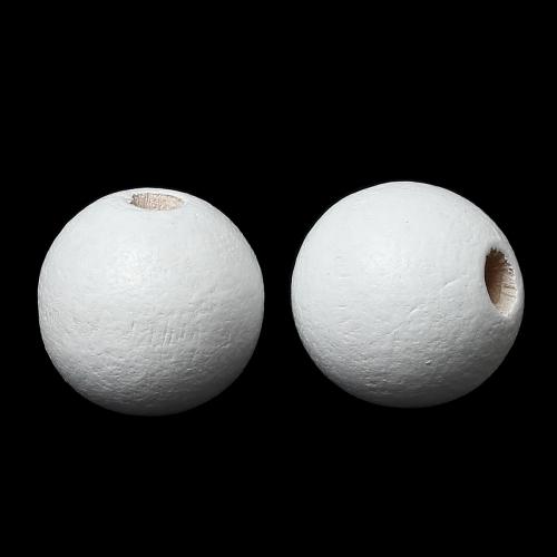 40 x perle ronde 10mm en bois couleur blanc