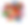 15 perles coccinelle 19mm x 15mm multicolores en bois