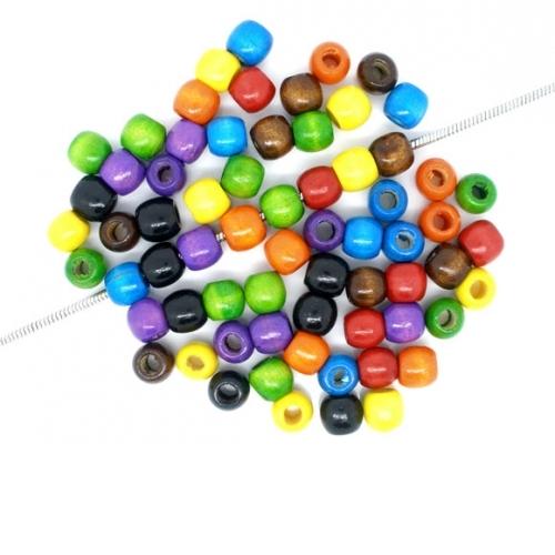 500 x perle tonneau 12mm x 11mm multicolores en bois