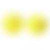 30 x perle polygone 20mm en bois couleur jaune