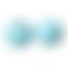 20 x perle ronde 25mm en bois couleur bleu clair