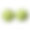 20 x perle ronde 25mm en bois couleur vert clair