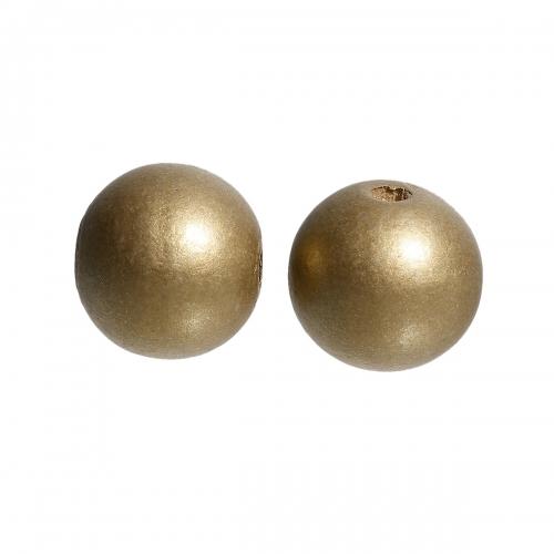 20 x perle ronde 24mm en bois couleur or