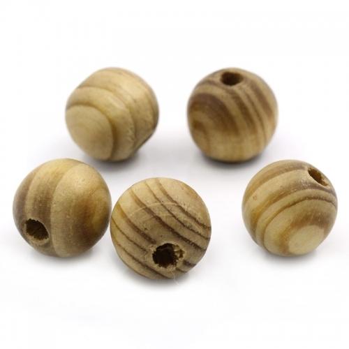 50 x perle ronde 16mm en bois couleur marron zébré