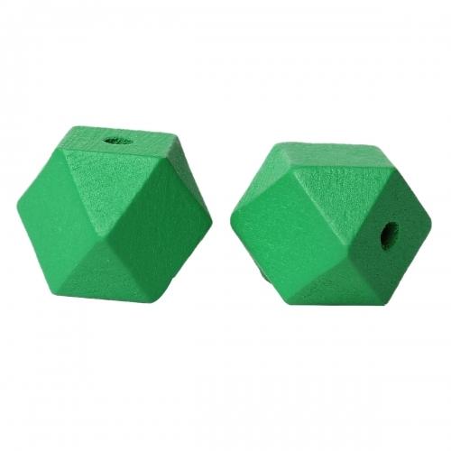 30 x perle polygone 20mm en bois couleur vert