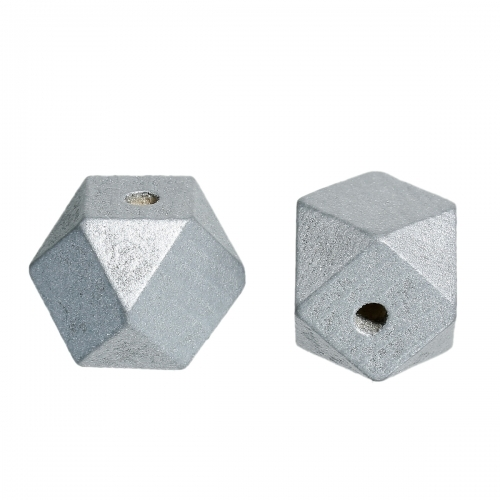 20 x perle polygone 20mm en bois couleur gris argent
