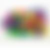 1000 perles rondes 8mm x 6mm multicolores en bois