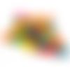 200 perles rondelles 14mm x 6mm multicolores en bois