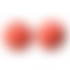 300 x perle ronde 10mm en bois couleur rouge pastèque