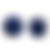 20 x perle polygone 20mm en bois couleur bleu foncé