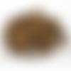 75 x perle ronde rayée 8mm en bois couleur marron