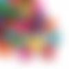 200 perles rondes 14mm x 13mm multicolores en bois