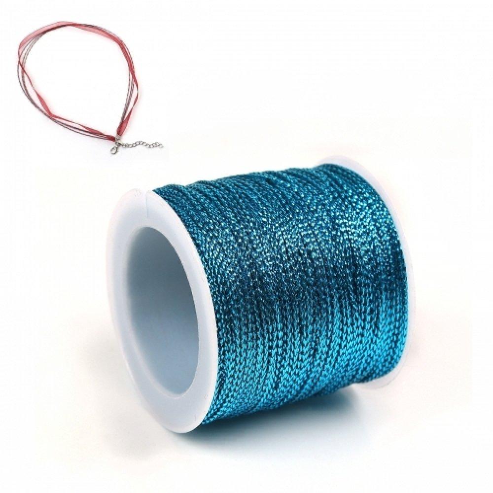 45 Mètres de Fil Métallisé 0.8mm en Polyester Couleur Bleu