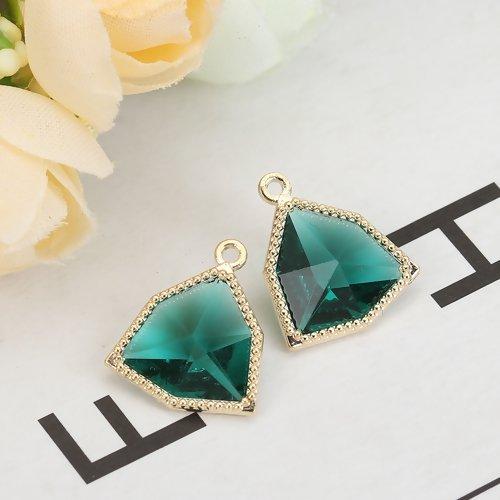 5 x pendentif forme irrégulière 17mm x 15mm en métal doré et verre à facettes couleur vert paon