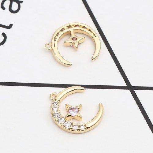 2 x pendentif lune et étoile 14mm x 11mm couleur doré strass transparent et rose
