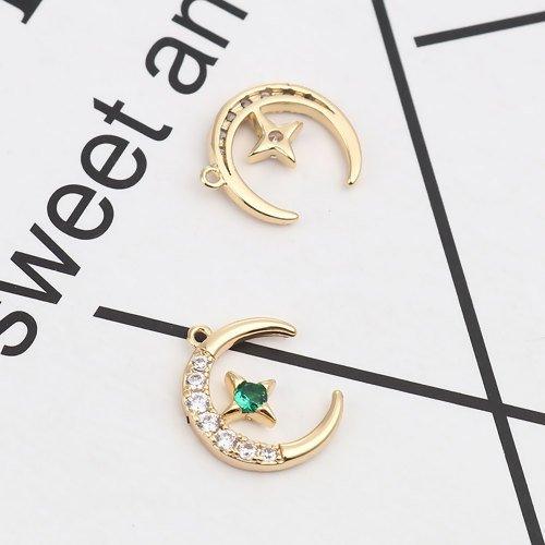 2 x pendentif lune et étoile 14mm x 11mm couleur doré strass transparent et vert