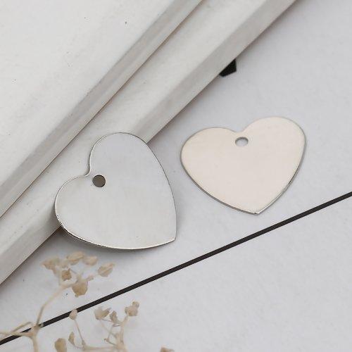 20 x pendentif coeur 15mm x 14mm couleur argent mat