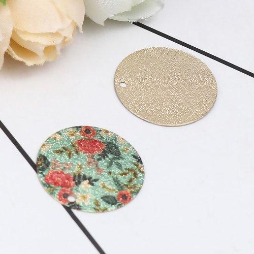 5 x pendentif rond 20mm en métal et peinture émaillée multicolore