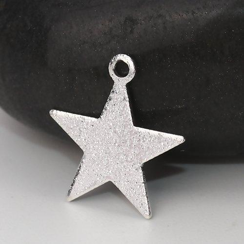 10 x pendentif étoile 14mm x 13mm couleur argenté clair