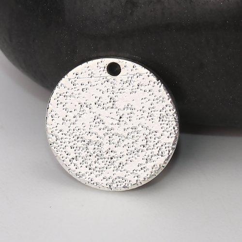 10 x pendentif rond 12mm couleur argenté