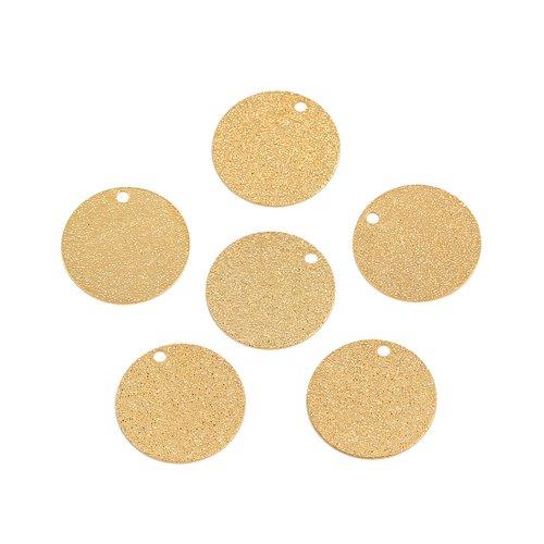10 x pendentif rond 15mm couleur doré
