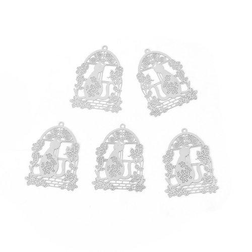 5 x pendentif chat 32mm x 24mm couleur argent mat