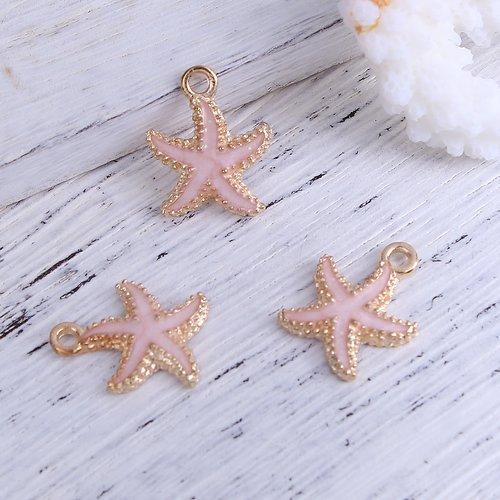 10 x pendentif étoile de mer en métal doré et émail rose