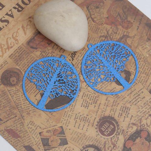 5 x pendentif arbre de vie 43mm x 40mm couleur bleu et paillettes