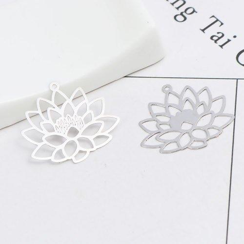 20 x pendentif estampe fleur de lotus 25mm x 22mm couleur argent mat