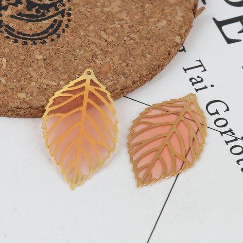 5 x pendentif estampe feuille 35mm x 20mm couleur doré et résine orange clair