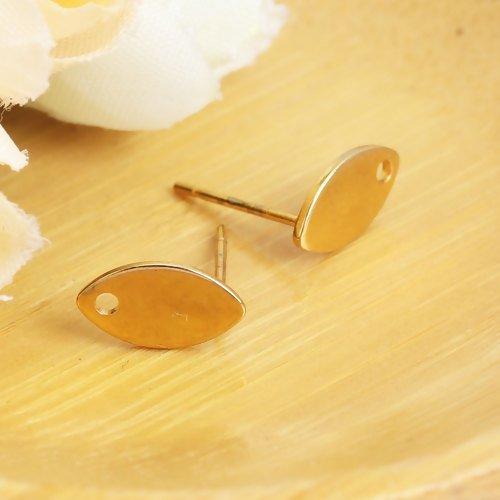 10 x boucle d'oreilles puce marquise 10mm x 6mm en acier inoxydable doré