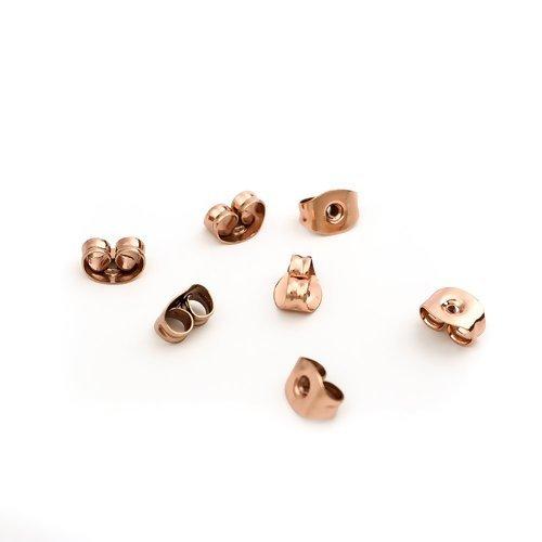 50 x fermoir papillon 6mm x 4mm pour boucles d'oreilles acier inoxydable or rose